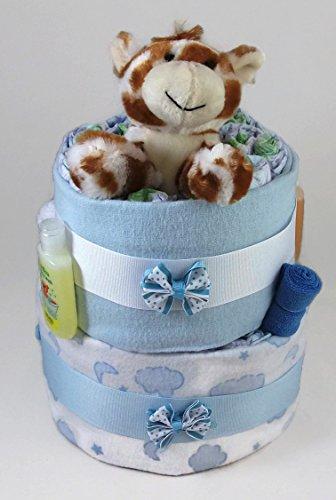 Sunshine Gift Baskets - Blue Diaper Cake Gift Set with a Giraffe
