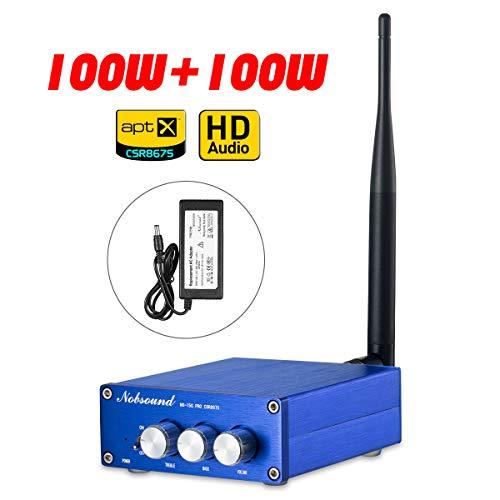 Nobsound 2 Channel Bluetooth 5.0 Amplifier , Class D Stereo Audio Amplifier , Mini Home Theater Power Amp , Digital Power Amplifier Receiver , 200W , APTX-HD, Treble Bass Control (NS-15G PRO CSR8675)