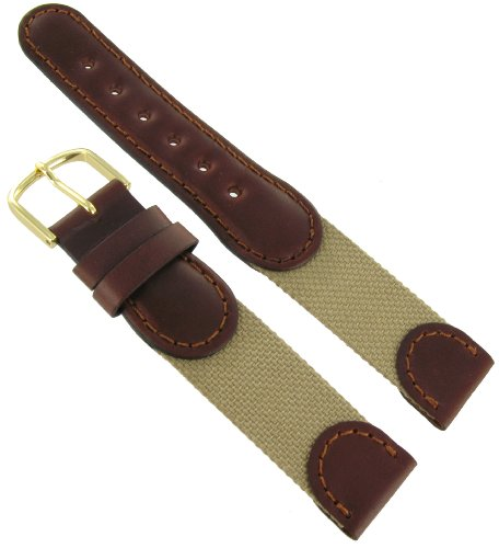 "20mm Hirsch Explorer Watch Band Brown and Beige ""Swiss Army"" Style"