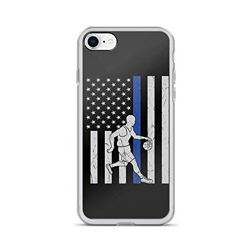 iPhone 7/8 Pure Clear Case Cases Cover Vintage Best US Basketball Player Ever American Flag