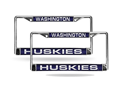 Rico Washington Huskies Chrome Metal (2) Laser Cut License Plate Frame Set