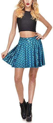 Bleu Poisson Plisse t Soire Jupe Court cailles Femme Chic Clair de Cocktail des Fte Mini New Jupes de Imprime BnqpISwT
