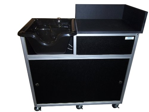 Monsam PSE-2005G Portable Shampoo Sink with Extended Cabinet, Black