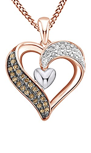 AFFY White & Brown Natural Diamond Heart Pendant Necklace in 14k Rose Gold Over Sterling Silver (0.2 Ct)