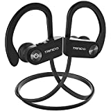 Bluetooth Headphones, TRINIDa IPX7 Waterproof Sport Wireless Headset for Running, Best in Ear Earbuds HiFi Stereo w/Mic 10 Hours Playback Gym Workout Passive Noise Cancel Wireless Earphones(Black)