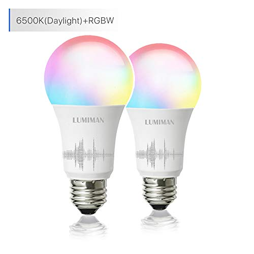 Smart WiFi Light Bulb, LED RGB Color Changing, Compatible with Alexa and Google Home Assistant, No Hub Required, A19 E26 Multicolor LUMIMAN 2 Pack ()