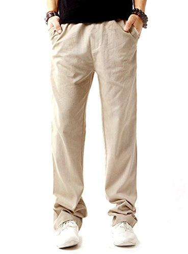NITAGUT Men Casual Beach Trousers Linen Summer Pants