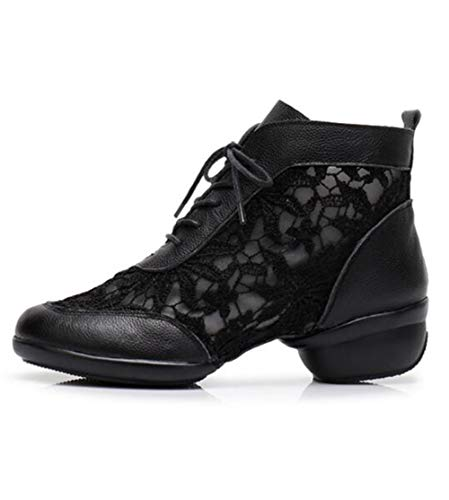 Modern Out Leather Lightweight Shoes Ladies Up Jazz TWGDH Dance Closed Trainers Toe Hollow Practice Block Black Heel Shoes Lace Breathable Dance zZtw0q1