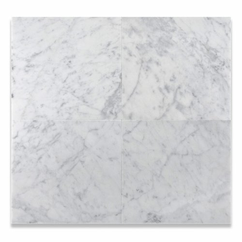 12 X 12 Bianco Carrara White Marble Honed Field Tile 6 X 6