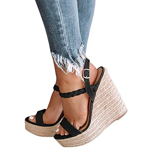 Syktkmx Womens Strappy Espadrille Platform Wedge Open Toe Braided Sandals with Heels