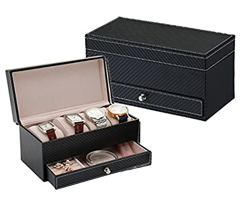 iSuperb Leather Watch Box Storage Display Cufflink Tray Drawer Jewelry Organizer for Men Christmas 8.7x4.2x4.3 inches (Black)