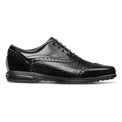 FootJoy Women's Tailored Collection-Previous Season Style Golf Shoes Black 8 M Patent Crocodile Print, US