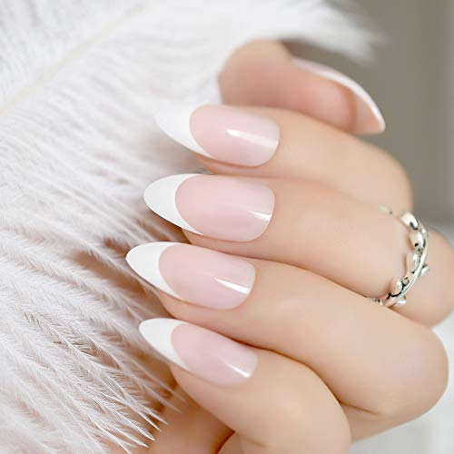 24Pcs Classical Light Pink French Nail Pointed Simple Design White Tip UV Gel Nails Stiletto Flase Nails With Glue Sticker Z939 Z872]()