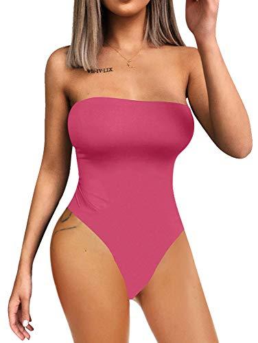 - YMDUCH Women's Sexy Strapless Bodysuit One Piece Triangle Off Shoulder Leotard Rose