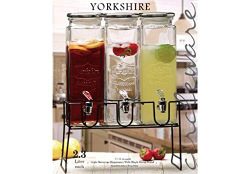 Circleware 92011 Triple XL Chalkboard Beverage Dispensers with Stand and Spigot, Fun Party New Entertainment Home Kitchen Glassware Cold Drink Pitcher for Water, Punch & Iced Tea, 3-80 oz,