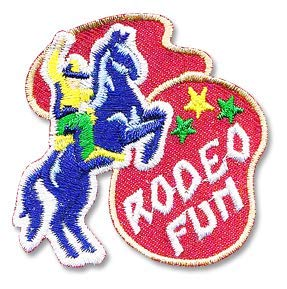 Cub Girl Boy RODEO FUN Embroidered Iron-On Fun Patch Crests Badge Scout Guides