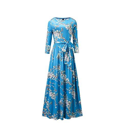 blue 3 quarter sleeve dress - 7