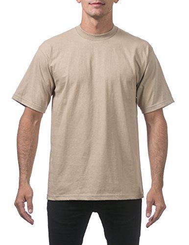 (Pro Club Men's Heavyweight Cotton Short Sleeve Crew Neck T-Shirt, Large, Khaki)