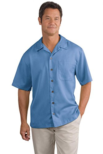 Port Authority® Easy Care Camp Shirt, Blue, 2XL (Authority Care Shirt Easy Camp)