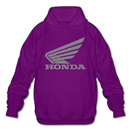Mens Honda Logo Long Sleeve Hooded Sweatshirt Small Purple