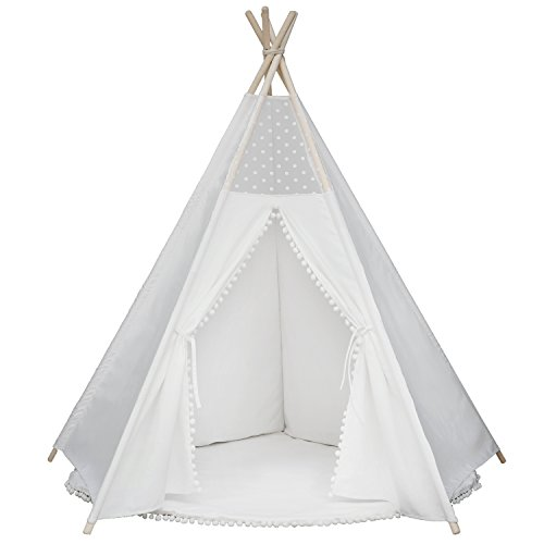 Princess Teepee Fairy Tent - 5' Large Handcrafted White Lace Pompon Cotton Canvas Play Tent Kids Playhouse by Wonder Space, Five-Sided Walls with Door and Window