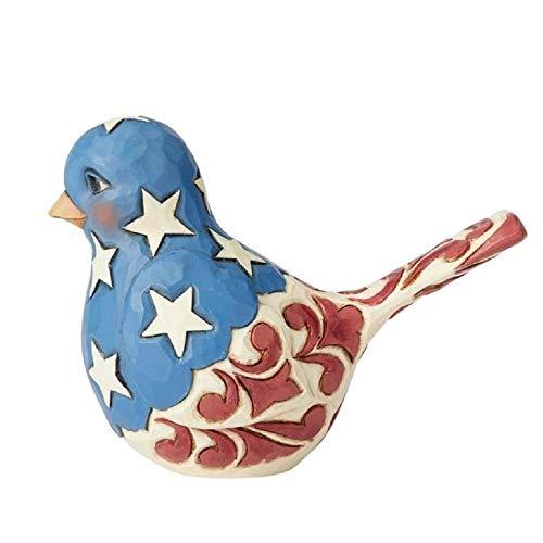 Enesco Jim Shore Heartwood Creek Feathered in Freedom Patriotic Bird Figurine, 4 Inch, Multicolor