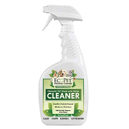 EcoPet All Natural Pet Odor and Stain Remover - Probiotic Powered Multi Surface Cleaner - Effective Non-Toxic Pet Odor Eliminator and Pet Stain Eraser, Scented, Trigger Spray, 16 oz