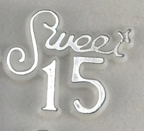 48 Pcs Plastic Cake Topper Sweet 15 Sign White w/Silver Party Favor Decorations