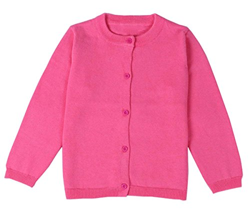 Rose Sweater Crewneck - lymanchi Little Girls' Long Sleeve Cardigan Button Crewneck Knit Bowknot Sweater 101 Rose Red 4T