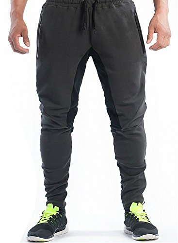 Ouber Men's Fitted Jogger Pants Gym Workout Running Sweatpants with Zipper Bottom (Black,L)
