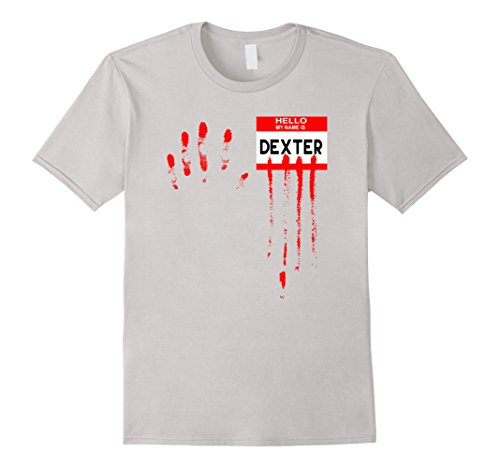 Dexter Costume Amazon (Mens Hello My Name Is...Dexter Halloween Horror Tshirt 3XL Silver)
