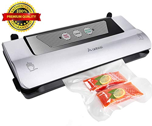 Aobosi Vacuum Sealer 3 in 1 Automatic Vacuum Food Sealer with Convenient Cutter and Food Grade Bag Roll, Multi-use Vacuum Packing Machine for Sous Vide Cooking and Food Preservation, Easy One-button Control (Machine Bag Sealer)
