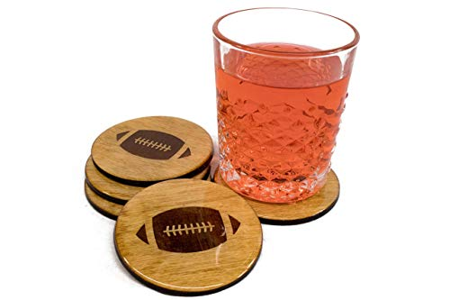 Premium Football Coasters - Four Piece Bar Gift Set, Handmade 3.5
