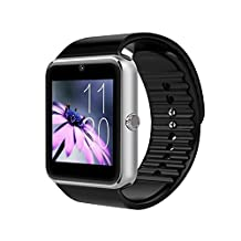 Zomtop Bluetooth Smart Watch with Camera Cell Phone Touch Screen Wristwatch Phone Mate for Android Samsung HTC Sony Lg and Iphone 6plus Smartphone(Silver+Black)