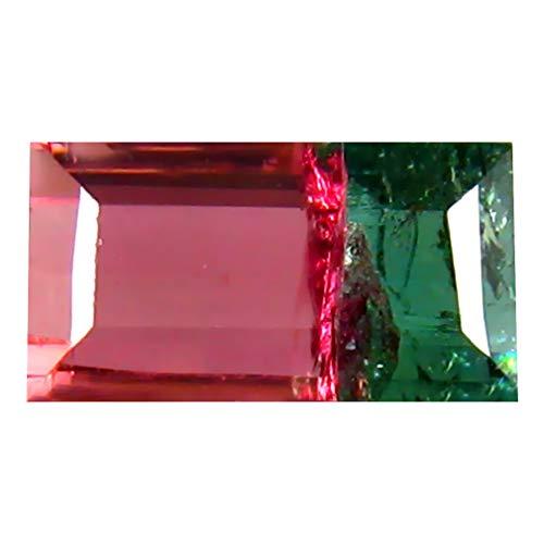 1.53 ct OCTAGON SHAPE (8 x 5 mm) BRAZILIAN BI-COLOR WATERMELON TOURMALINE NATURAL LOOSE - Color Gem Bi Tourmaline