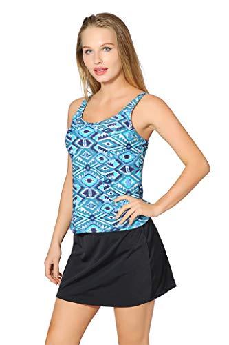 Saejous Women 2 Pieces Vintage Floral Printed Swimsuit Plus Size Tankini Set with Swim Dress Sea Blue (Piece 2 Skirtini Swimsuit)