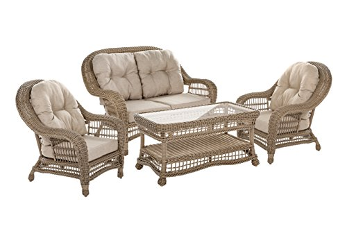 WUnlimited 4 Piece Saturn Collection Cappuccino Wicker Deep Seat Furniture Conversation Set
