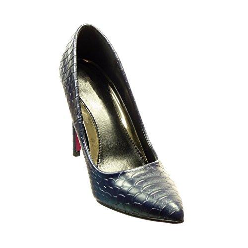 Angkorly Damen Schuhe Pumpe - Stiletto - Sexy - Schlangenhaut Stiletto High Heel 11 cm Marineblauen