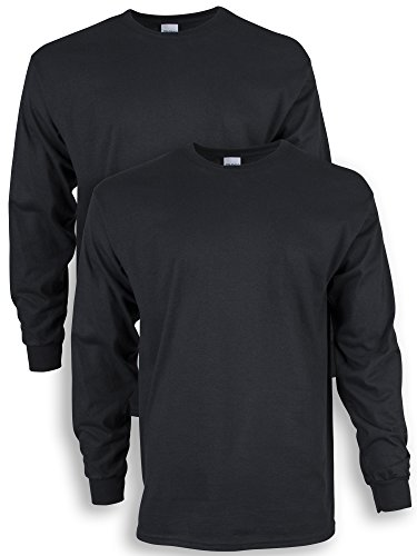 Gildan Men's Ultra Cotton Adult Long Sleeve T-Shirt, 2-Pack, Black, Large