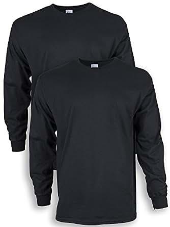 Gildan Men's Ultra Cotton Adult Long Sleeve T-Shirt, 2-Pack, Black, Small