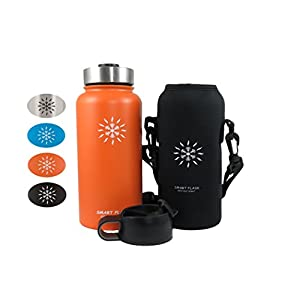 Smart Flask Stainless Steel Water Bottle, 4 Colors, 32 Oz., Wide Mouth, Vacuum Insulated, Includes Carrying Pouch with Clip and Shoulder Strap, Leakproof Metal Lid, and Flip Top Lid (Orlando Orange)