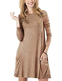 Womens Casual Plain Fit Flowy Simple Swing T-Shirt Loose Tunic Dress