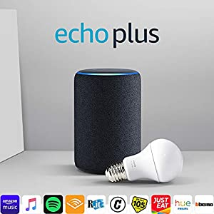 Echo Plus (2ª generazione) - Tessuto antracite + Philips Hue White Lampadina 16 spesavip