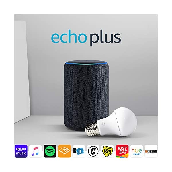 Echo Plus (2ª generazione) - Tessuto antracite + Philips Hue White Lampadina 1 spesavip