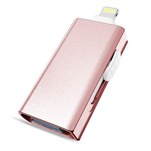 USB Flash Drive for iPhone 128GB, DULEES iPhone Photo Stick Lightning External Memory Storage for iPad iMac Android PC Backup Pictures Thumb Jump Drive (Rose Gold USB 3.0 128GB)