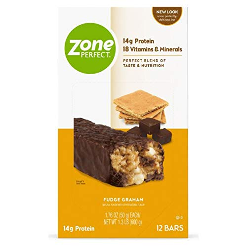 Zone Perfect Protein Bars 14g With Vitamins Minerals Great Taste Guaranteed Bars, Fudge Graham, 36 Count