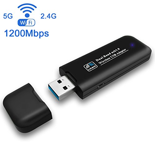 USB Wifi Adapter 1200Mbps Dual Band 2.4G/5G Wireless Network Dongle Adapter High Gain Antenna for PC Desktop Laptop Win 10/8/7/XP Linux Mac OS by Meeca