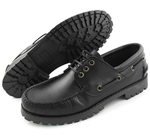 ... Zerimar Leder Bootsschuhe für Herren Segelschuhe Herren Leder schuhe  sportliche und elegante leder schuhe Farbe schwarz ... e546cd1191