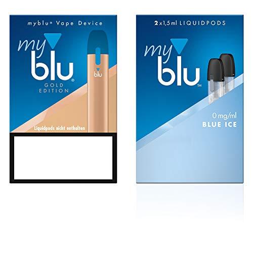 Elektrische Zigarette myblu Farbe Gold – Starter Set mit Podpack Geschmack Blue Ice – Ohne Nikotin