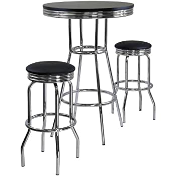 Amazoncom Winsome Summit Pub Table and 2 Swivel Stool Set 3